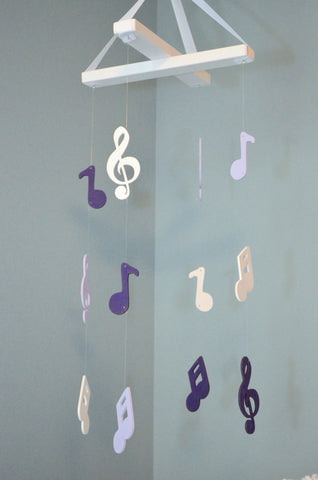 Musical Nursery Mobile - Music Notes - Lavender, Purple and White