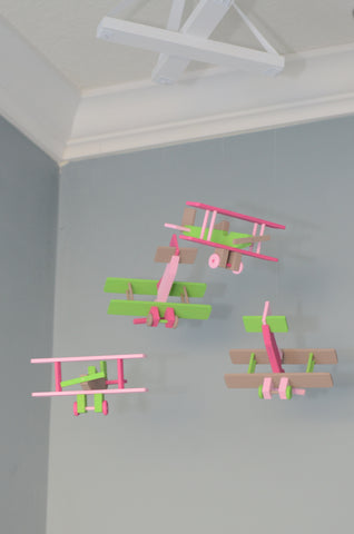 BiPlane Airplane Baby Mobile - Let's Fly Away - Pink Green Brown - Flutter Bunny Boutique, LLC  - 1