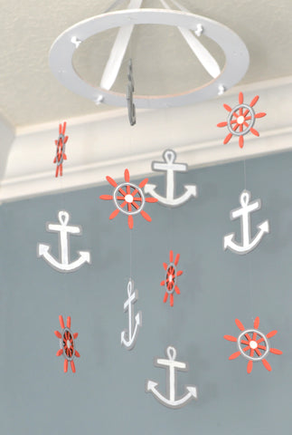 Nautical Nursery Mobile Anchor Wheel - Gray White Coral - Flutter Bunny Boutique, LLC  - 1