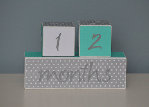 Baby Age Blocks Photo Blocks - White Gray Polka Dots Turquoise - Flutter Bunny Boutique, LLC  - 1