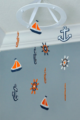 Nautical Baby Mobile -Sailboat Anchor Wheel Lighthouse - Navy White Orange - Flutter Bunny Boutique, LLC  - 1