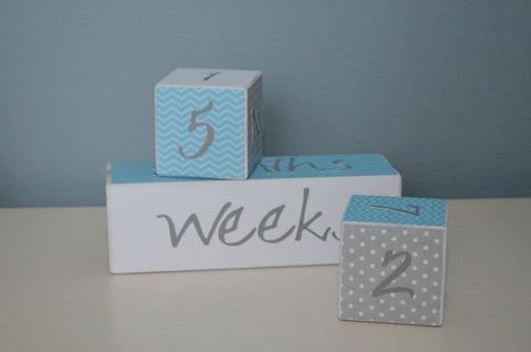 Baby Age Blocks Photo Blocks - White Grey and Blue Chevron - Flutter Bunny Boutique, LLC  - 1