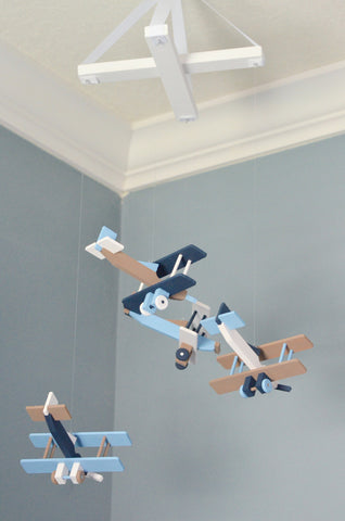 BiPlane Airplane Baby Mobile - Let's Fly Away - Navy White Brown Baby Blue - Flutter Bunny Boutique, LLC  - 4