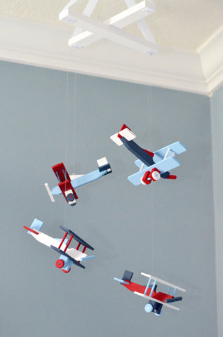 BiPlane Airplane Baby Mobile - Let's Fly Away - Navy White Red Baby Blue
