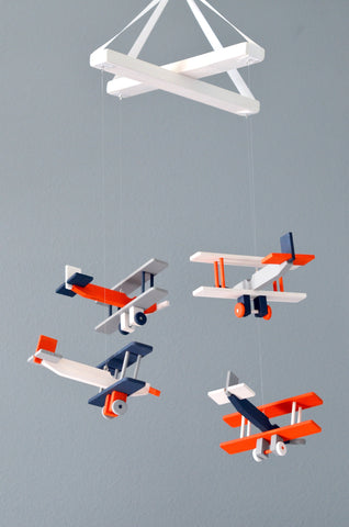 BiPlane Airplane Baby Mobile - Let's Fly Away - Navy White Gray Dark Orange - Flutter Bunny Boutique, LLC  - 1