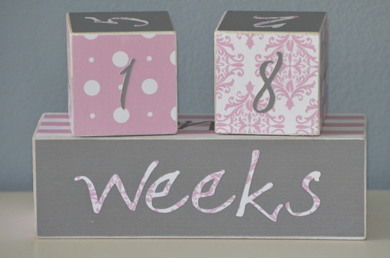 baby age blocks nursery decor photo prop baby shower gift