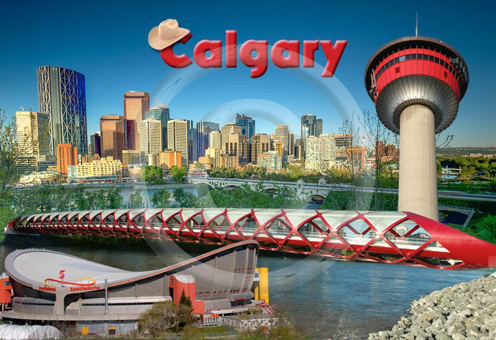 Calgary Collage Metal Magnet