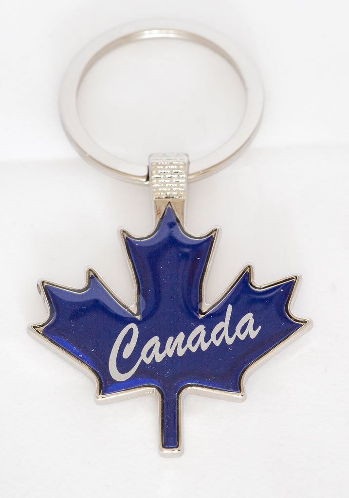 Maple Leaf Shaped Key Tag blue