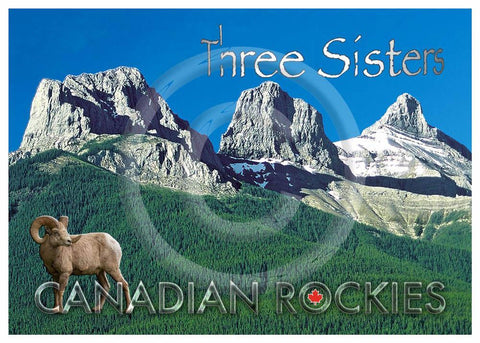 Three Sisters with Bighorn sheep 5x7 Card