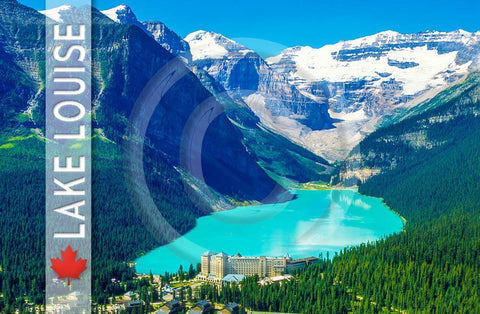 Lake Louise Aerial Strip Metal Magnet