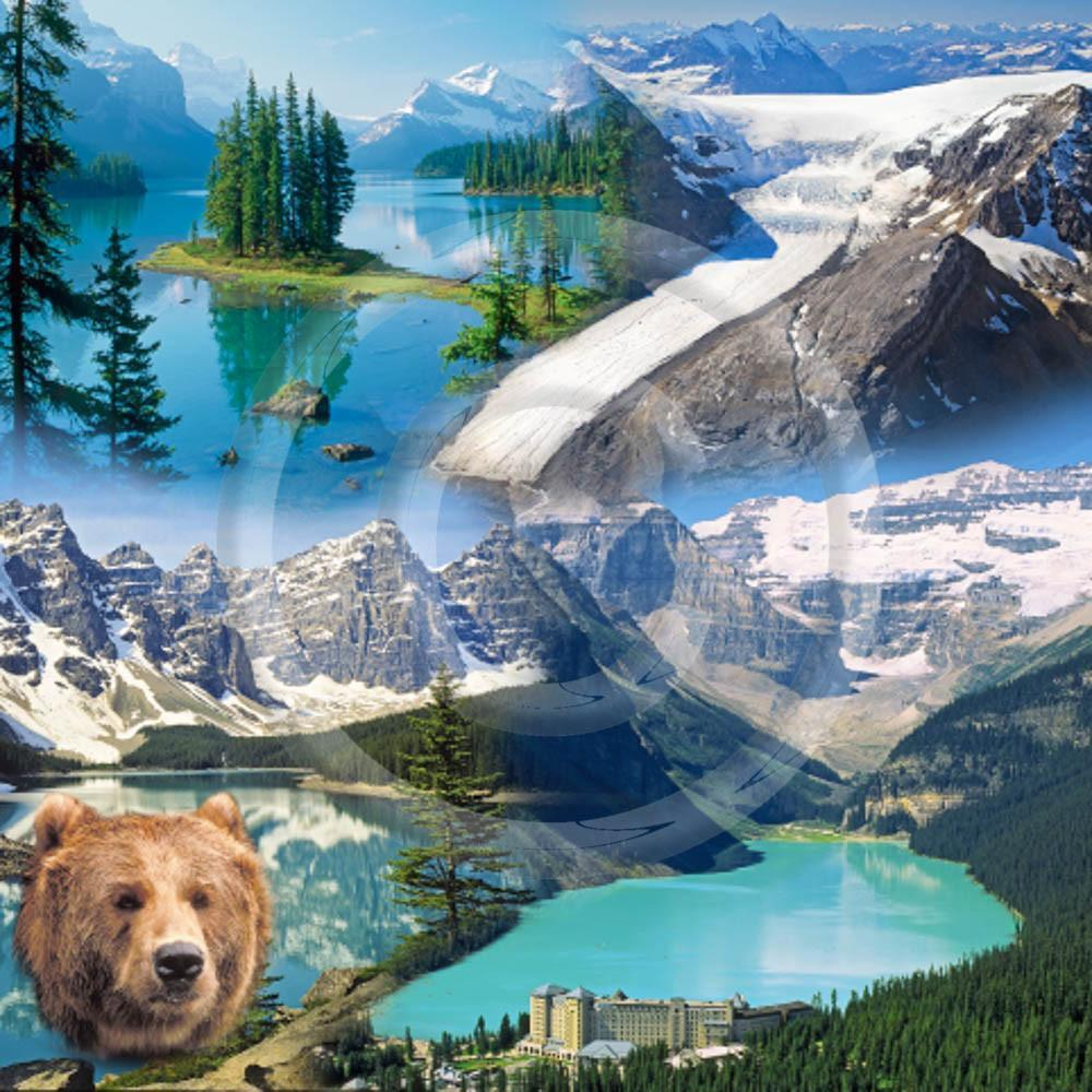 Rockies Collage and Moraine Lake Luncheon Napkin