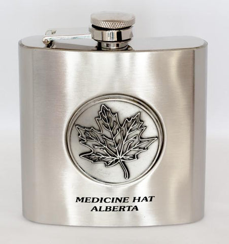 Medicine Hat embossed Flask