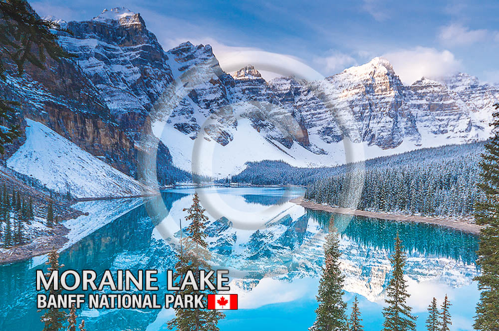 Moraine Lake Snow Metal Magnet