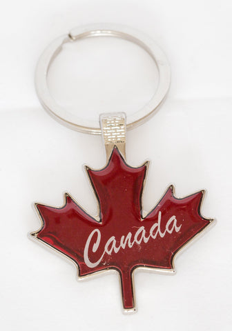 Maple Leaf Shaped Key Tag red