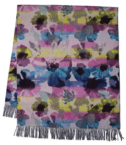 Multi Coloured Floral Throw Blue