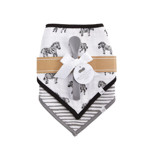 Zebra & Stripe Bibs with Silicone Spoon set