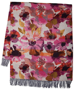 Multi Coloured Floral Throw Pink