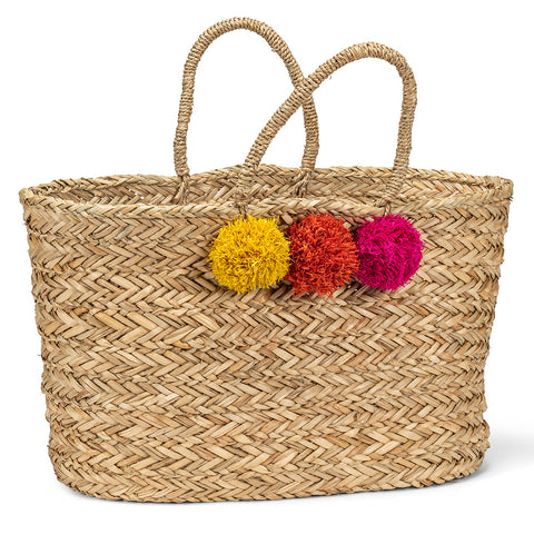 Seagrass Tote with Pompoms