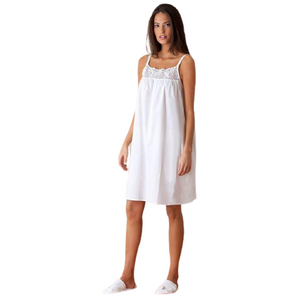 Fine Cotton Sleeveless Nightgown with Lace