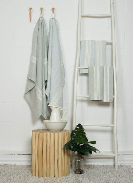 Linen Bath Towel - Mineral Blue with White Stripes