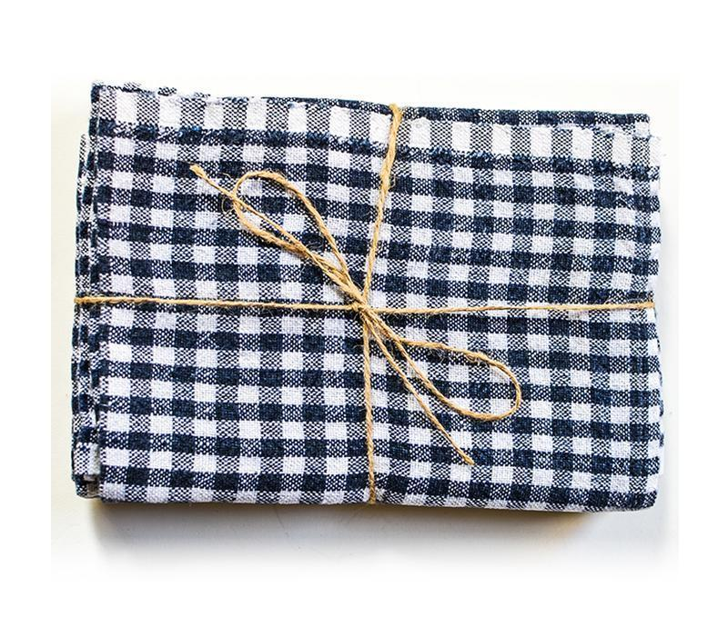 Gingham Blue & Ivory Tea Towel