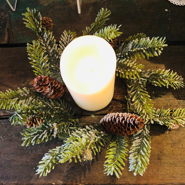 Pine Branch & Pine Cone Candle Ring