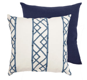 Blue & Warm White Bamboo Patterned Pillow