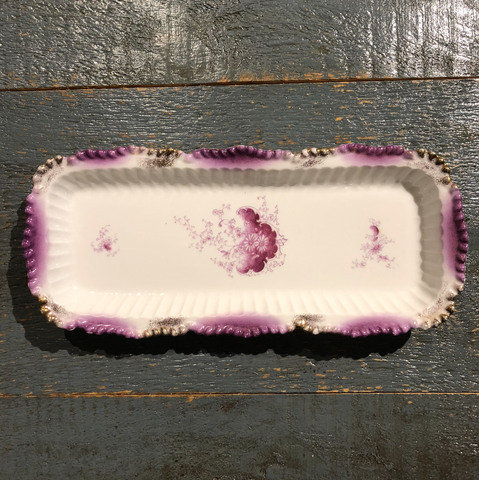 Vintage Purple & White Rectangular Tray