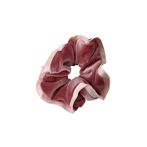 Scrunchie With Satin Trim - Pink