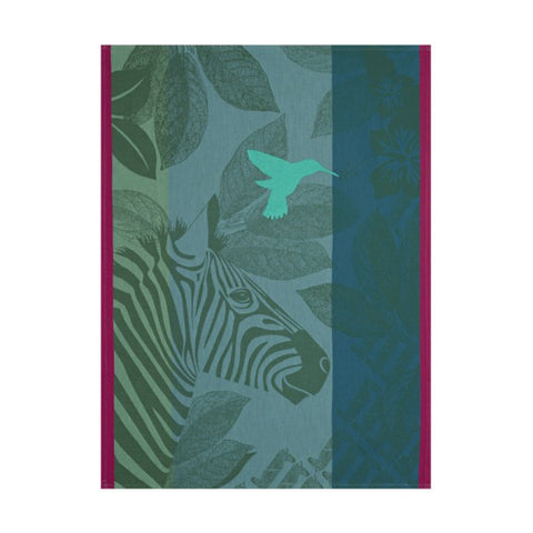 Jacquard Français Tea Towel - Zebra Family Green