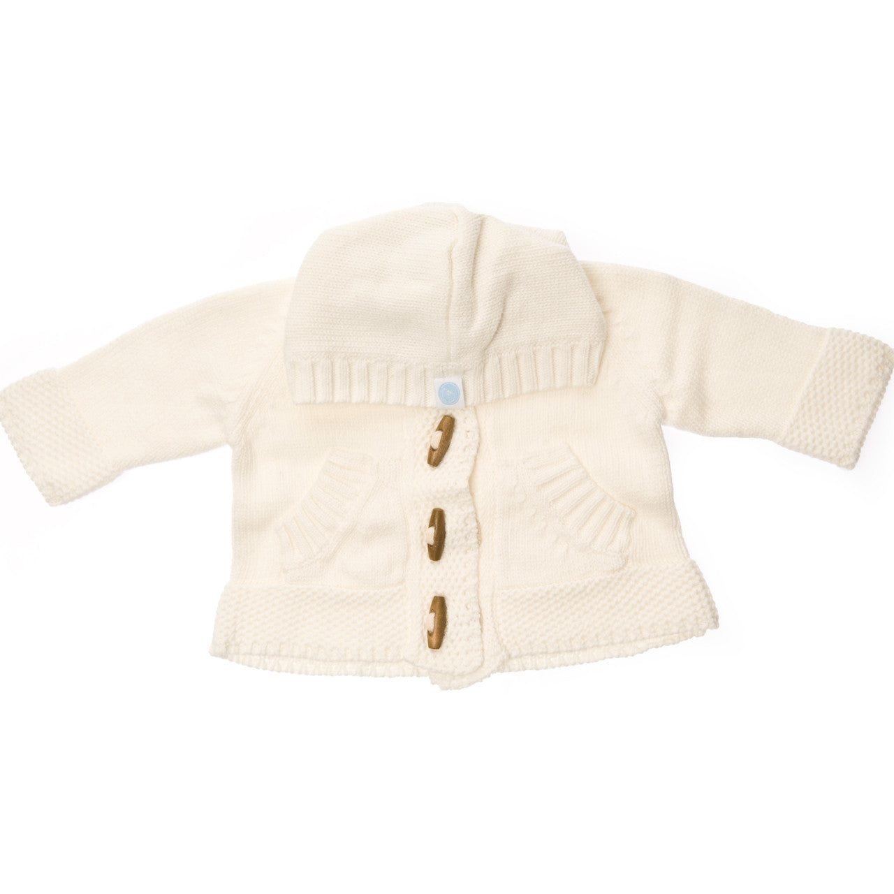 Baby Knit Hoodie in Ivory