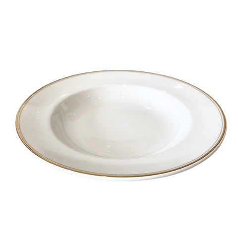 Vintage White & Gold Flat Soup Bowl