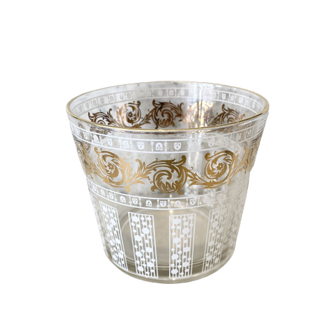 Vintage Gold & White Glass Ice Bucket