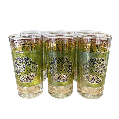 Vintage Green, Gold & Black Tumblers Set of 6