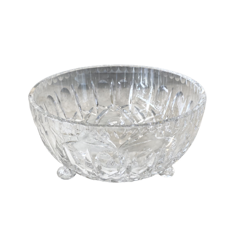 "Vintage Round Crystal 6 3/4"" Footed Bowl"