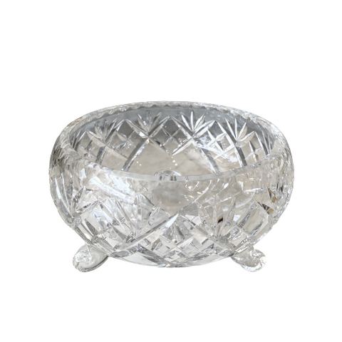 "Vintage Round Crystal 8"" Footed Bowl"