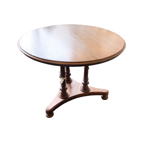 Vintage Walnut Round Pedestal Table