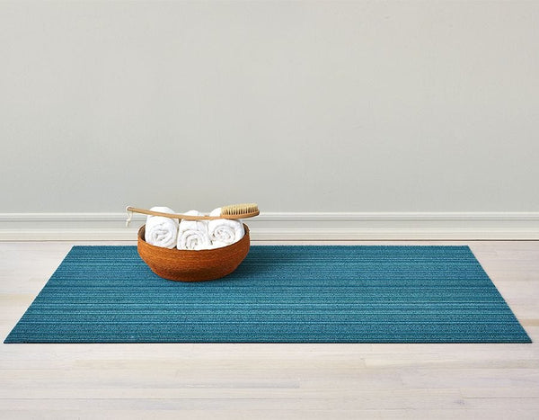Skinny Stripe Shag Chilewich Mat - Turquoise