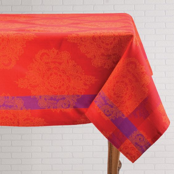 Red Jacquard Tablecloth
