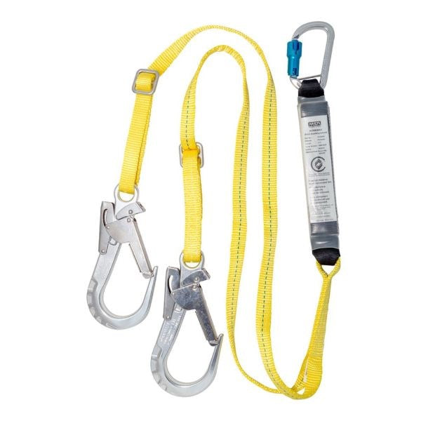 MSA Safety Lanyard Twin Leg Sa Webbing 2M Adj Al Triple Action Karabiner - Al Triple Action Scaffold Hook 10165497