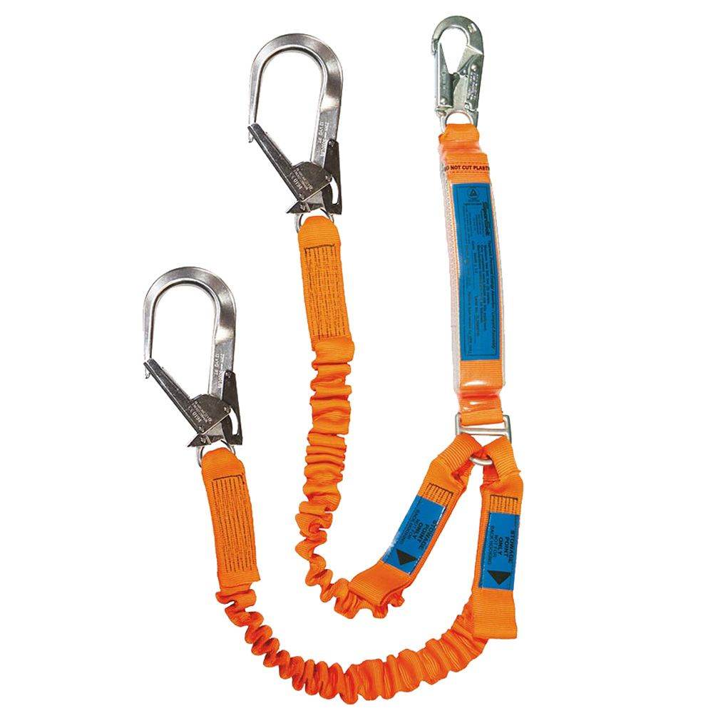 Spanset Elasticated Twin Lanyard with H3 Scaffold Hooks
