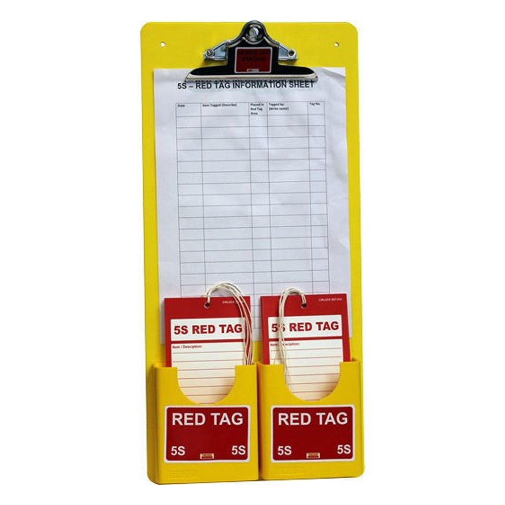 Cirlock 5s Red Tag Station, complete with clipboard, 2 x tag holders and 25 tags