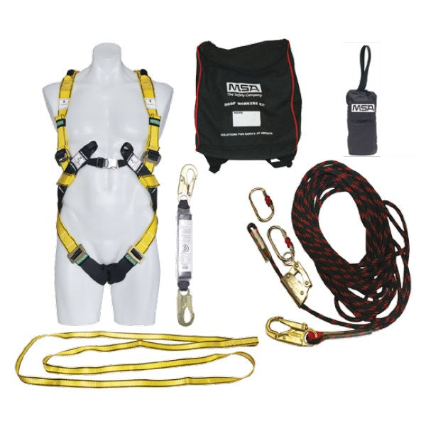MSA KIT, DELUXE ROOF WORKERS W/WORKMAN PREMIER, KERNMANTLE ROPE