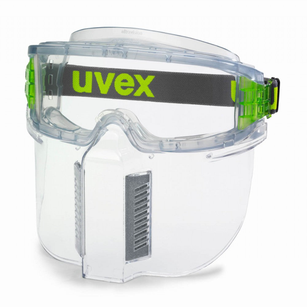uvex UltraShield safety goggles with lower face guard