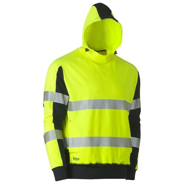Bisley Taped Hi Vis Stretchy Fleece Hoodie