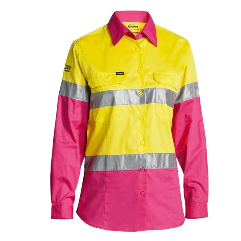Bisley Womens 3M Taped Cool Lightweight Hi Vis Shirt - Nbcf Embroidery - Long Sleeve