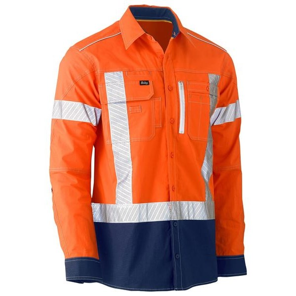 Bisley Flex & Move X Taped Hi Vis Utility Shirt