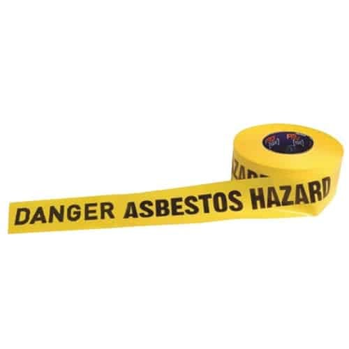 """DANGER ASBESTOS HAZARD"" on Yellow Tape"
