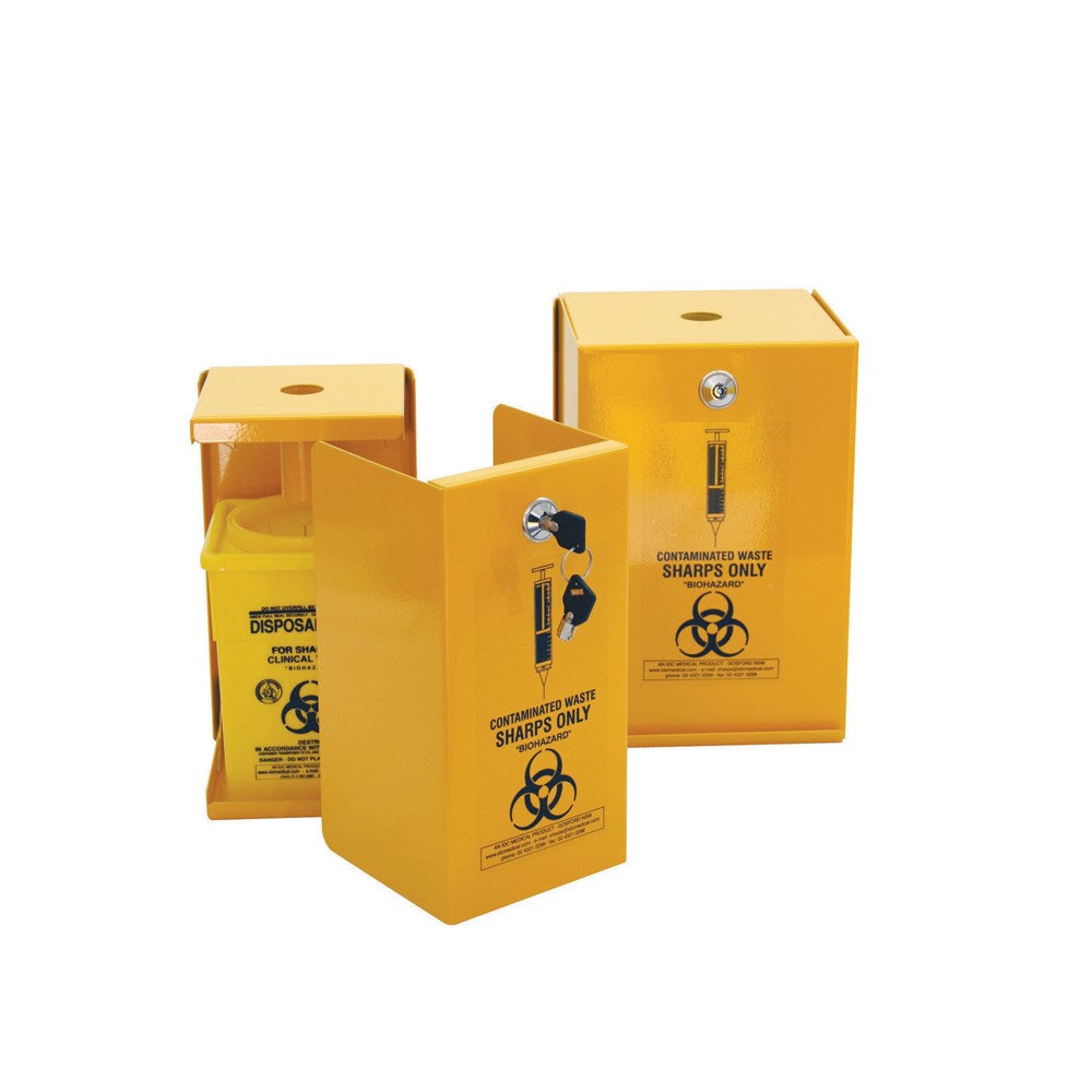 FastAid Sharps Metal Safe Yellow Armour