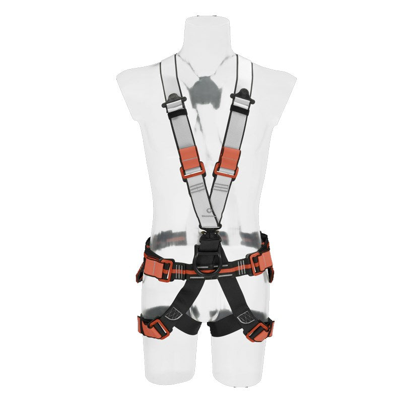Skylotec Kurt Click harness - Adult. Click connect buckle at the waist. Black/orange